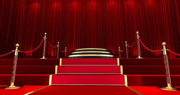 Awards show background with red curtains open on black screen, long red carpet between rope barriers