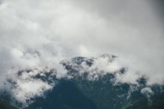 どんよりした天気で灰色の低い雲に雪に覆われた頂上を持つ大きな森の山への素晴らしい高山の景色。雨雲の中の森の頂上に雪のある美しい山の尾根のある大気の風景。