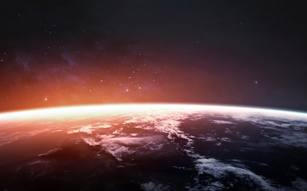 Потрясающе красивая планета земля в холодном и теплом свете. элементы этого изображения, предоставленные наса