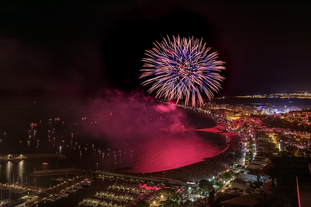 Awesome fireworks above the blanes in catalonia. spain