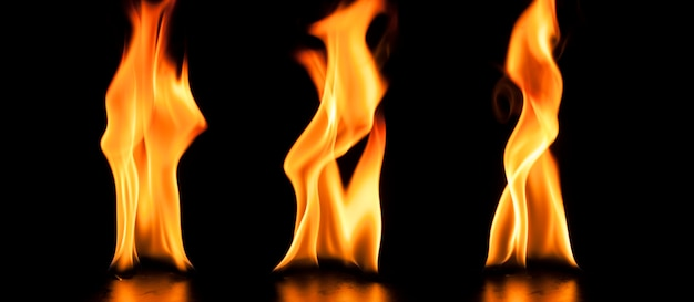 Awesome flames on black background
