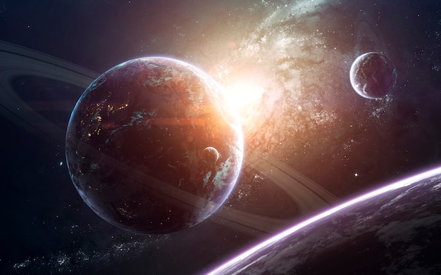 Потрясающая галактика в глубоком космосе. звездные поля бесконечного космоса. элементы этого изображения, предоставленные наса