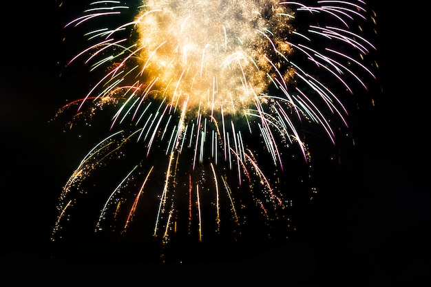 Awesome isolated festive fireworks on a dark.