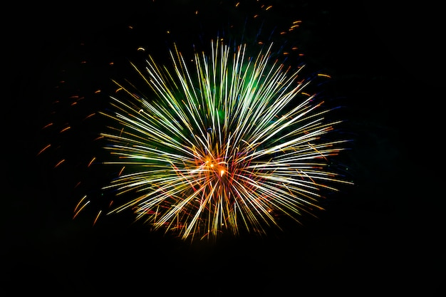 Awesome isolated festive fireworks on a dark