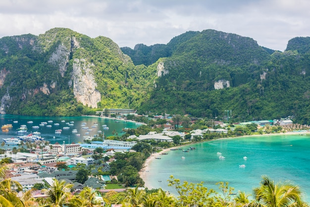 Awesome landscape vacation travel - tropical island phi-phi island in thailand