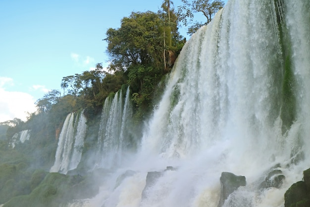 Awesome low angle view of iguazu falls at argentinian side, puerto iguazu, argentina
