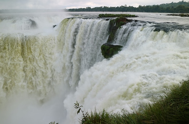 Awesome view of the devil's throat area of iguazu falls at argentinian side, argentina