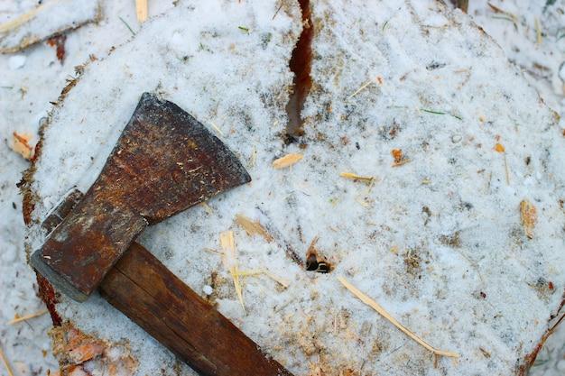 冬の斧と薪