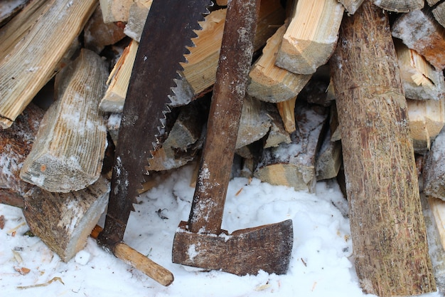 Ax and firewood in winter