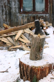 An ax to grind firewood in winter