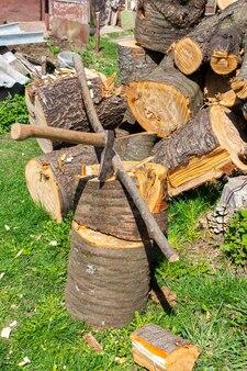 斧は大きな丸太に打ち込まれ、裏庭に薪の山があり、冬に向けて薪を貯蔵していました