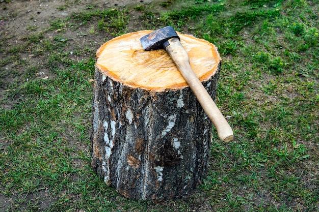 Топор и бревно в загородном доме. топор лежит на бревне. заготовка древесины. вырубка леса.