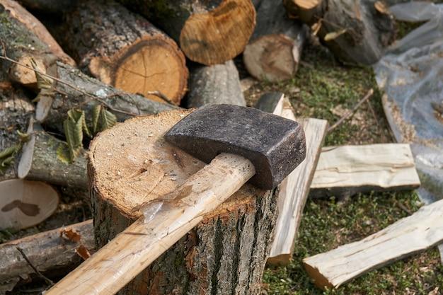 チョッピングブロックと薪の斧