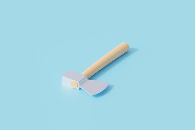 Деревянная ручка топора одиночный изолированный объект. 3d рендеринг