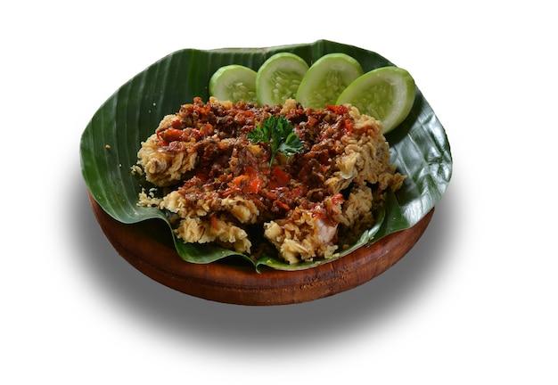 Ayam geprek dish on white surface