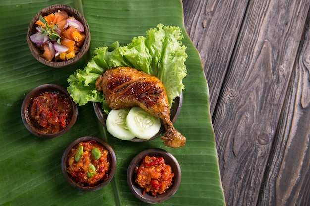 Ayam penyet traditional fried chicken