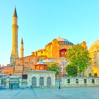 Ayasofya - the hagia sophia in istanbul in the evening. turkey