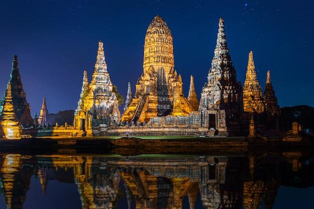 Ayutthaya historical park, wat chaiwatthanaram buddhist temple in thailand.