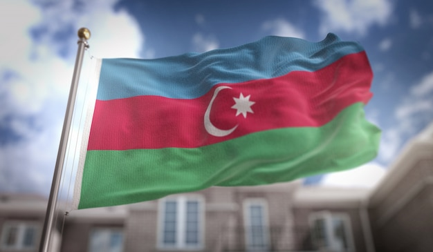 Azerbaijan flag 3d rendering on blue sky building background