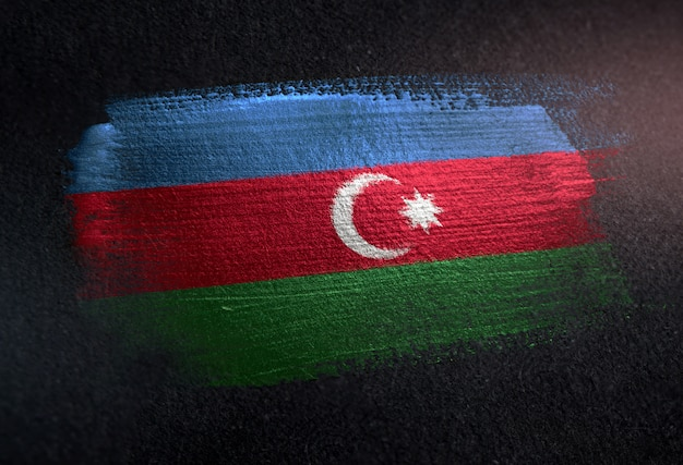Azerbaijan flag made of metallic brush paint on grunge dark wall