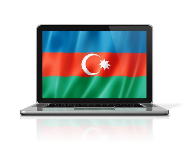 白で隔離のラップトップ画面上のアゼルバイジャンの旗。 3dイラストのレンダリング。
