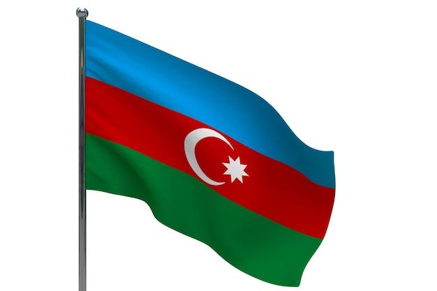 Флаг азербайджана на шесте. металлический флагшток. государственный флаг азербайджана 3d иллюстрации на белом