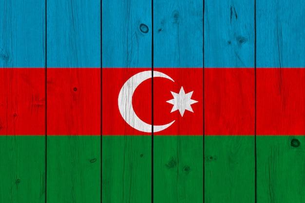 Azerbaijan flag painted on old wood plank