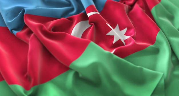 Azerbaijan flag ruffled beautifully waving macro close-up shot