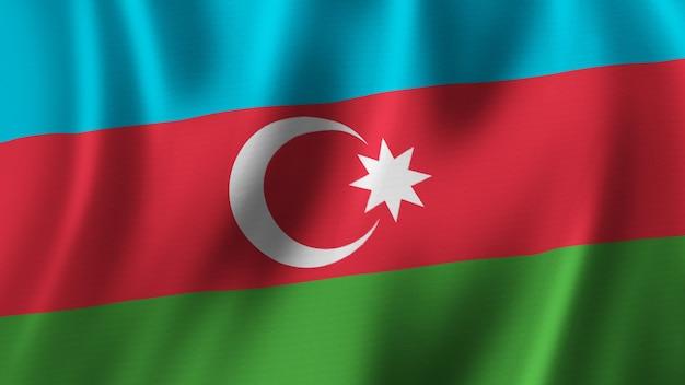 패브릭 질감으로 고품질 이미지로 근접 촬영 3d 렌더링을 흔들며 아제르바이잔 국기