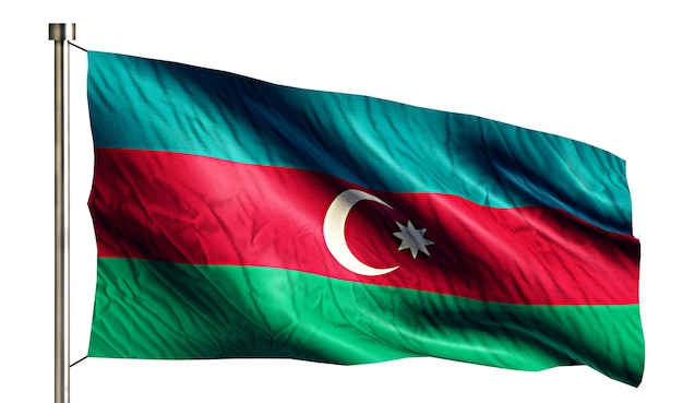 Azerbaijan national flag isolated 3d white background