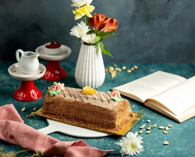 Azerbaijani absheron cake in long shape with butter cream flowers