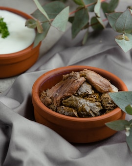 Dolmasi azero yarpag con barbecue di carne all'interno della ciotola di ceramica.
