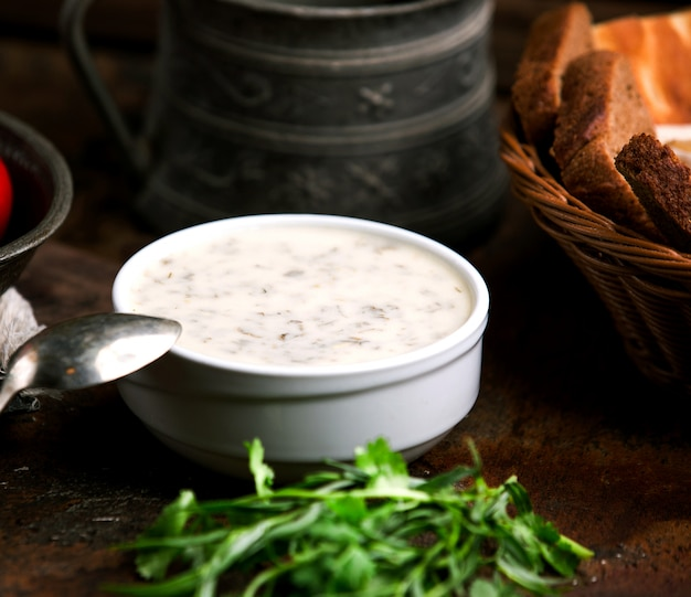 Azeri dovga made with yogurt and greens