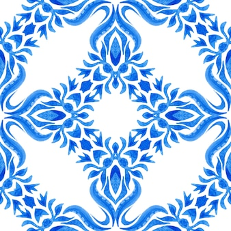 Azulejo blue and white hand drawn tile seamless ornamental watercolor paint pattern