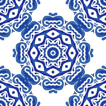 Azulejo blue and white hand drawn tile seamless ornamental watercolor paint pattern.