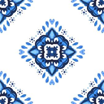 Испанская плитка azulejo. великолепный бесшовный синий цветочный узор акварель восточные плитки турецкий орнамент.