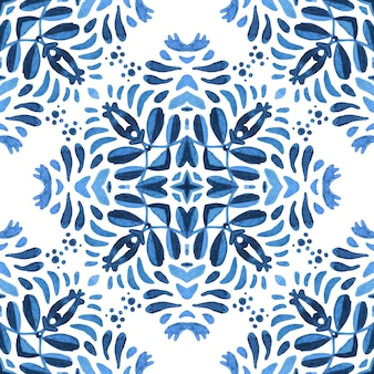 Испанская плитка azulejo с цветами. великолепные бесшовные голубой цветочный акварельный узор плитки.