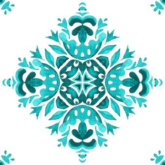 アズレージョタイルのデザインスタイル。抽象的な手描きのシームレスな装飾用水彩パターン。