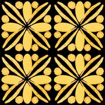 アズレージョ水彩シームレスパターン。伝統的なポルトガルのセラミックタイル。手描きの抽象的な背景。テキスタイル、壁紙、プリント、水着のデザインのための水彩画のアートワーク。黒のアズレージョ柄。