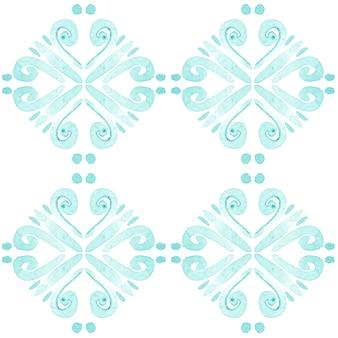 アズレージョ水彩シームレスパターン。伝統的なポルトガルのセラミックタイル。手描きの抽象的な背景。テキスタイル、壁紙、プリント、水着のデザインのための水彩画のアートワーク。ブルーアズレホ柄。