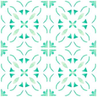 アズレージョ水彩シームレスパターン。伝統的なポルトガルのセラミックタイル。手描きの抽象的な背景。テキスタイル、壁紙、プリント、水着のデザインのための水彩画のアートワーク。緑のアズレホ柄。