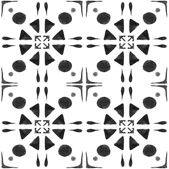 アズレージョ水彩シームレスパターン。伝統的なポルトガルのセラミックタイル。手描きの抽象的な背景。テキスタイル、壁紙、プリント、水着のデザインのための水彩画のアートワーク。グレーのアズレホ柄。