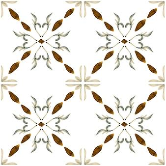 アズレージョ水彩シームレスパターン。伝統的なポルトガルのセラミックタイル。手描きの抽象的な背景。テキスタイル、壁紙、プリント、水着のデザインのための水彩画のアートワーク。グレーのアズレージョ柄。