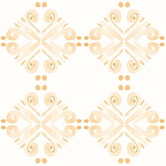 アズレージョ水彩シームレスパターン。伝統的なポルトガルのセラミックタイル。手描きの抽象的な背景。テキスタイル、壁紙、プリント、水着のデザインのための水彩画のアートワーク。オレンジ色のアズレホ柄。