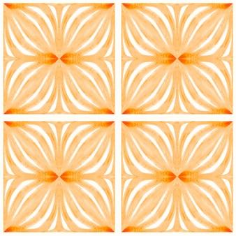 アズレージョ水彩シームレスパターン。伝統的なポルトガルのセラミックタイル。手描きの抽象的な背景。テキスタイル、壁紙、プリント、水着のデザインのための水彩画のアートワーク。オレンジ色のアズレージョ柄。