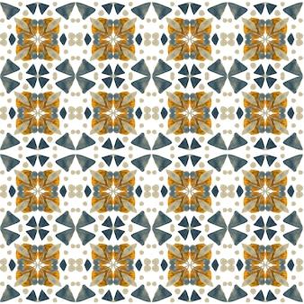 Азулежо акварель бесшовные модели. традиционная португальская керамическая плитка. ручной обращается абстрактный фон. акварель для текстиля, обоев, принта, дизайна купальных костюмов. оранжевый узор азулежу.