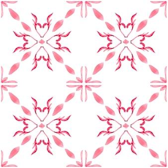 アズレージョ水彩シームレスパターン。伝統的なポルトガルのセラミックタイル。手描きの抽象的な背景。テキスタイル、壁紙、プリント、水着のデザインのための水彩画のアートワーク。赤いアズレホ柄。