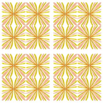 アズレージョ水彩シームレスパターン。伝統的なポルトガルのセラミックタイル。手描きの抽象的な背景。テキスタイル、壁紙、プリント、水着のデザインのための水彩画のアートワーク。黄色のアズレージョ柄。