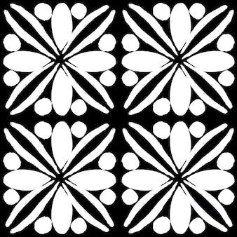 Azulejo watercolor seamless pattern. traditional portuguese ceramic tiles. hand drawn abstract background. watercolor artwork for textile, wallpaper, print, swimwear design. black azulejo pattern.