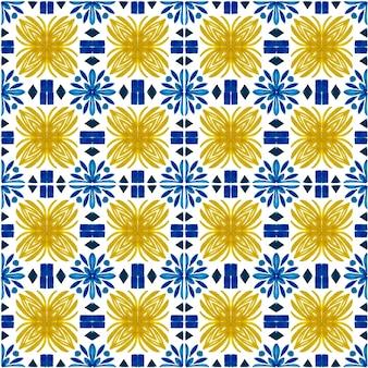 Azulejo watercolor seamless pattern. traditional portuguese ceramic tiles. hand drawn abstract background. watercolor artwork for textile, wallpaper, print, swimwear design. blue azulejo pattern.